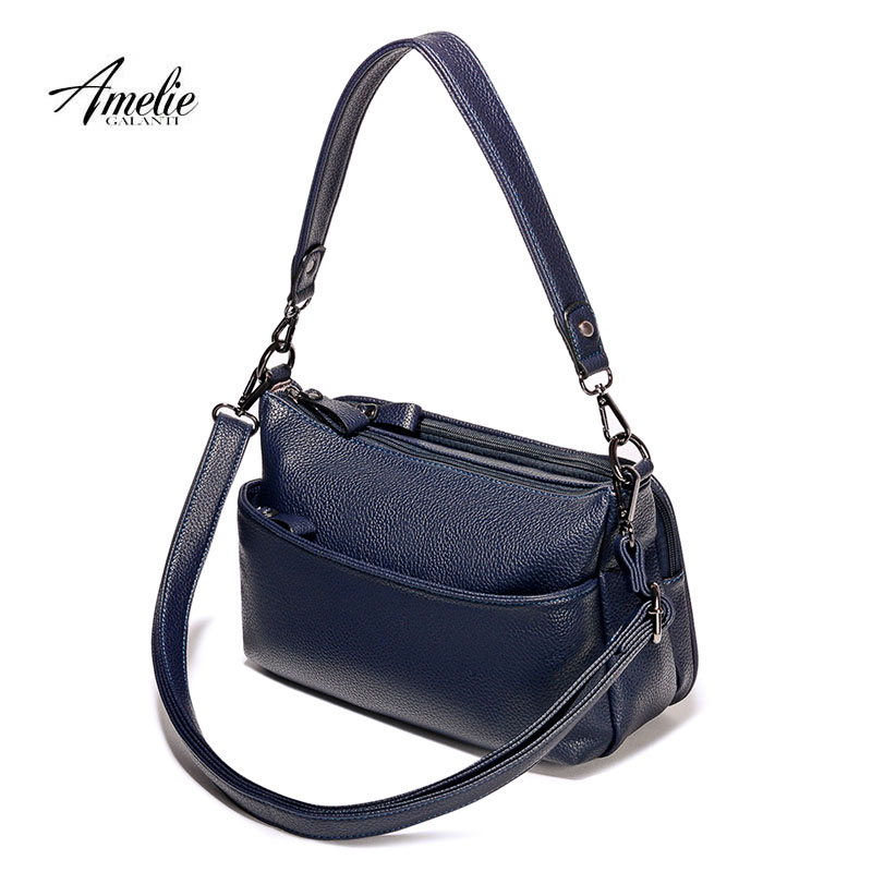 AMELIE GALANTI casual women bag solid color multifunction versatile fashion soft shoulder bag zipper long straps 5colors casual simple totes women genuine leather bag solid color large capacity fashion soft shoulder bag zipper long straps 3 colors