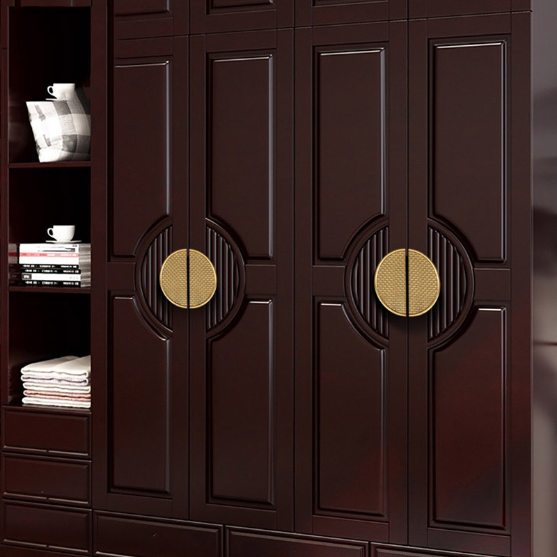 Bouton en laiton Antique/poignée Style chinois armoire/bibliothèque poignées tiroir tirer poignée de meubles Semi-circulaire/2 couleurs