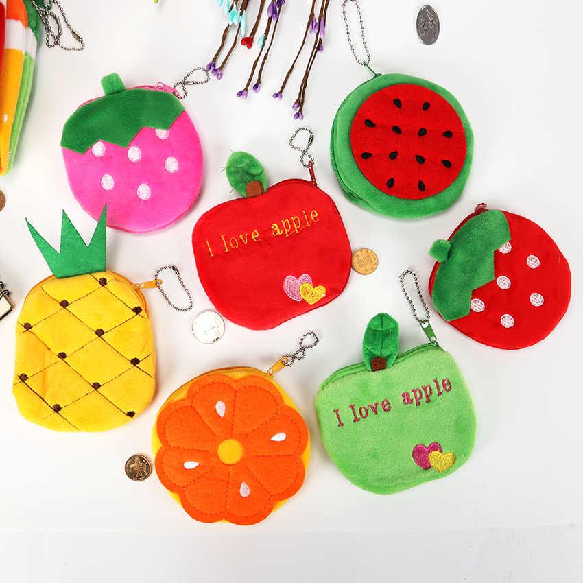 1PC Kawaii niñas forma de fruta cremallera moneda monederos niños sandía de felpa fresa señoras pequeña cartera llavero