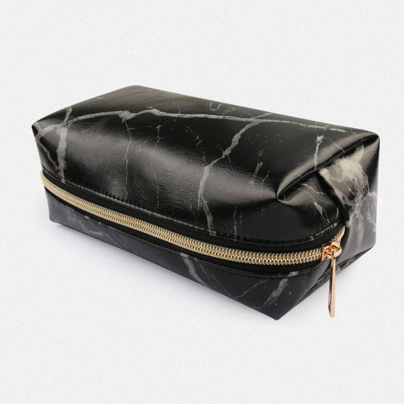 Marble Pattern Makeup Bag Organizer Cosmetic Pouch Travel Brush Holder Handbag with Zipper Pencil Storage Case for Women