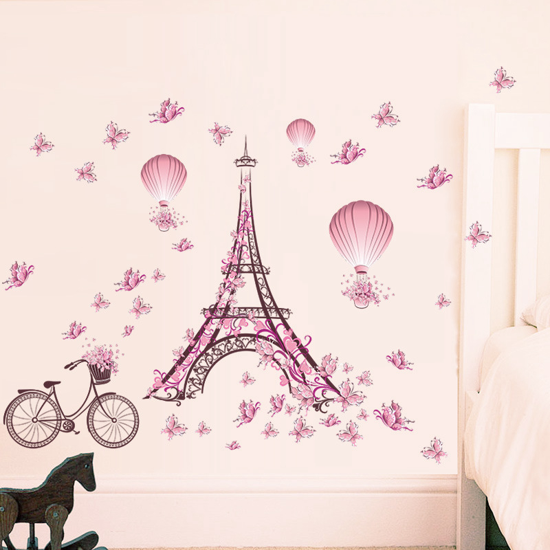 Romantic Eiffel Tower Wall Stickers Decals Living Room Bedroom Decoration Bicycle Flower Hot Air Balloon Wedding Decoration in Wall Stickers from Home Garden