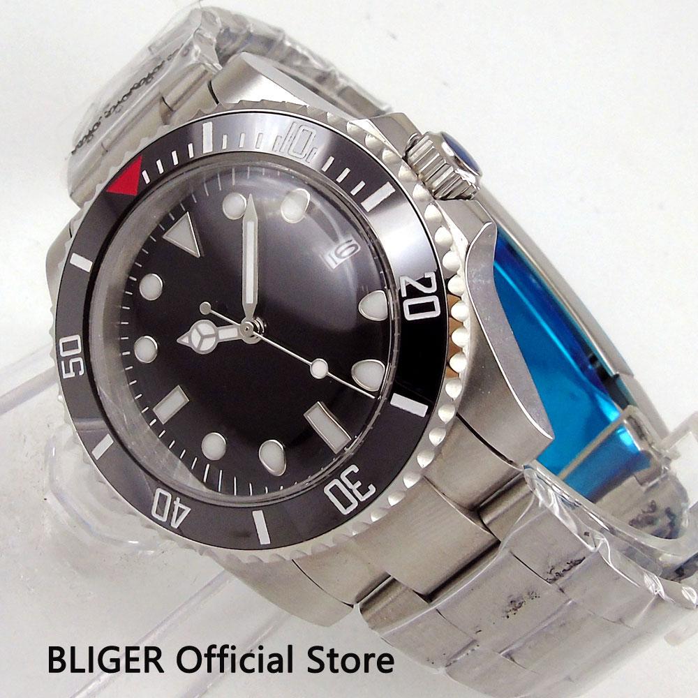 Classique BLIGER 40MM cadran noir céramique noire lunette rotative marques lumineuses en plastique verre mouvement automatique montre pour hommes B105