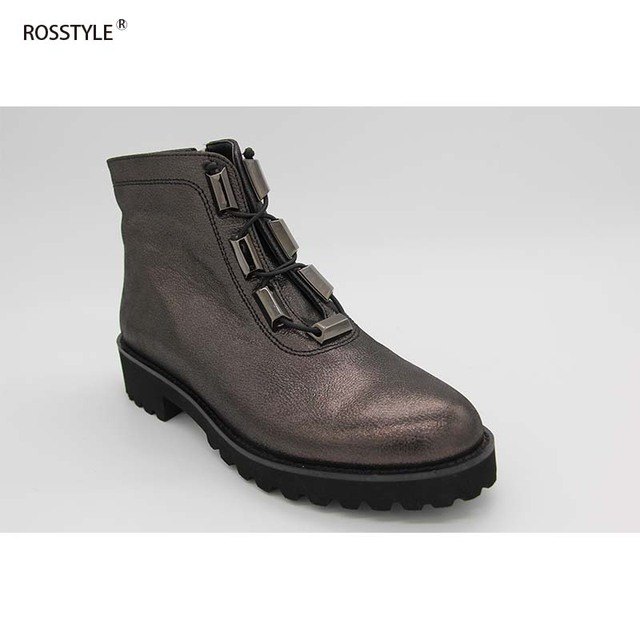 ab06f478c713 Rosstyle Women Foaming Light Bottom Full Grain Leather Ankle Boot Flat Heel  Lace-Up Women Shoes Autumn Genuine Leather B22