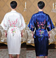 Free Shipping!Chinese Men's Silk Satin Embroider Bamboo Yukata Kaftan Robe Gown With Belt  S M L XL XXL XXXL Clubs MR0015