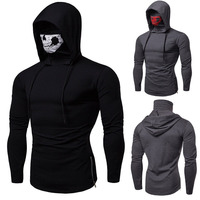 Adult Men Halloween Horror Demon Grim Reaper Costume Skull Skeleton Print Pullover Mask Cotton Hoodie Hooded Sweater For Men
