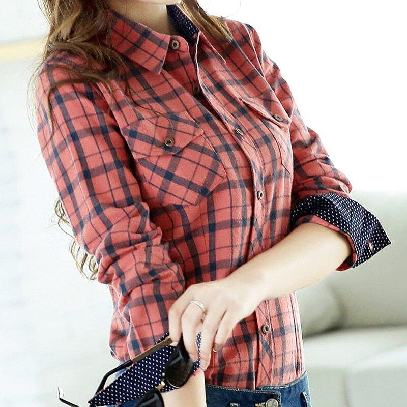 2019 Spring Autumn Slim Flannel Plaid Blouse Women Korean Turn-down Collar Long Sleeve 100% Cotton Shirts Tops High Quality