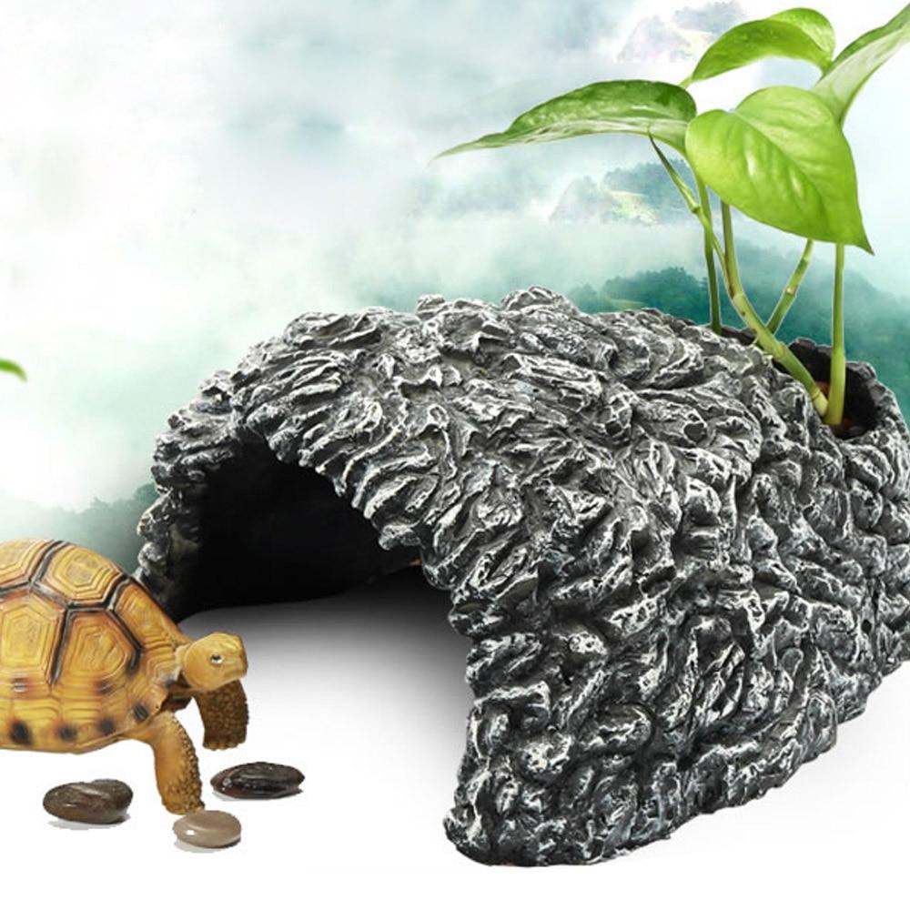 Small Vivid Reptile Tortoise Turtle Hiding Hide Cave for Aquarium Fish Turtle Tank Decoration Turtle Island Stone Aquarium Cave