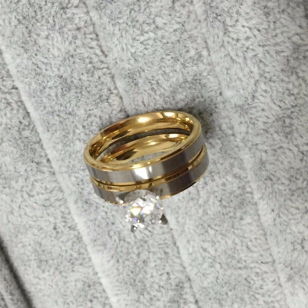 4mm Titanium Steel Cz Rhinestone Korean Couple Rings Set For Men