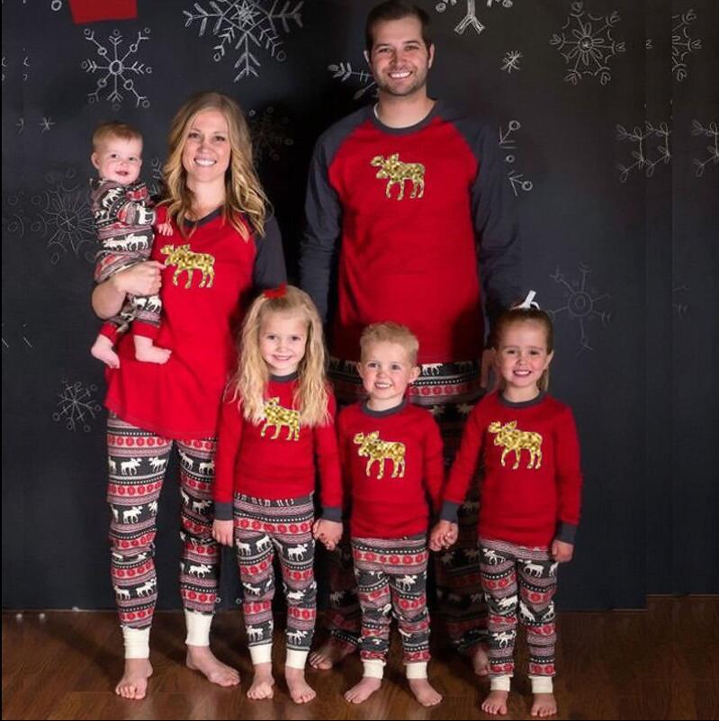 2017 New arrivals Christmas gold reindeer print long sleeve top+striped pants women pajama family matching christmas pajamas set