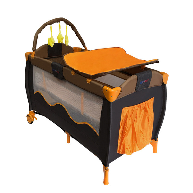 Lit de bébé Portable européen lit de jeu pliable multifonctionnel bébé garçons filles lit pliant voyage lit de jeu chariot Portable - 5