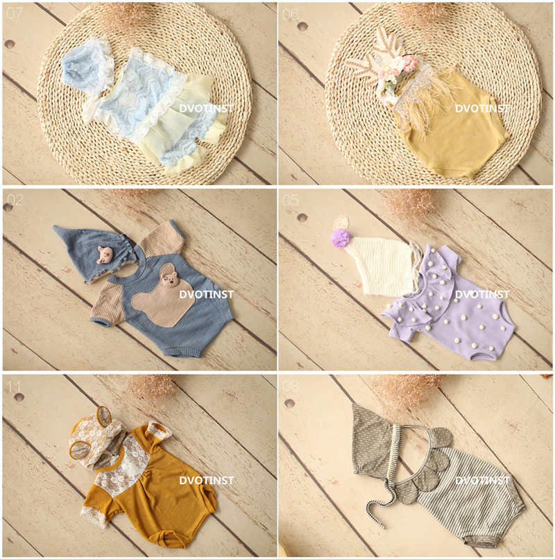 Dvotinst Newborn Baby Photography Props Crochet Knitted Lace Clothes Hat Outfits Fotografia Costume Studio Shooting Photo Props