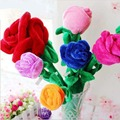 30cm Multicolor Plush Rose Flower Toys Red Blue Pink Yellow Orange Cartoon Home Decoration Wedding Gift Present