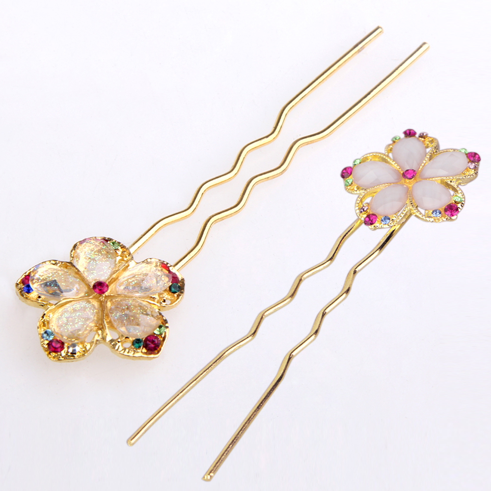 6 Pieces New Chic Colorful Charm Flower Hair Pins Wedding Hair Accessories for Bridal Women Kids
