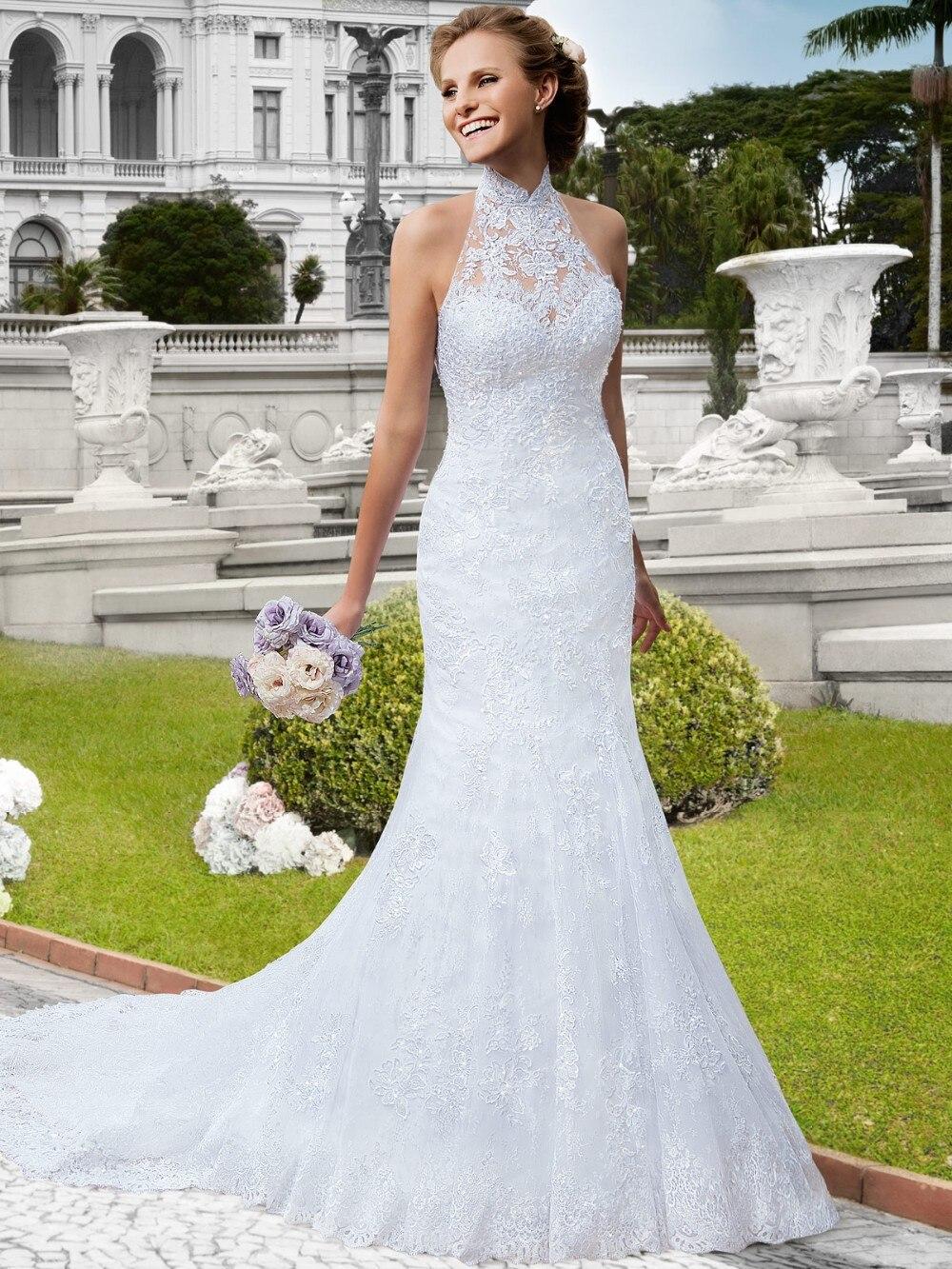 2017 Noble Lace Mermaid Wedding Dresses High Collar Bridal Dresses ...
