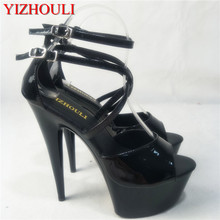 Black painted ankle strap 15 cm sexy super high heel pole dancing/performance/star/model shoes, party dancing shoes