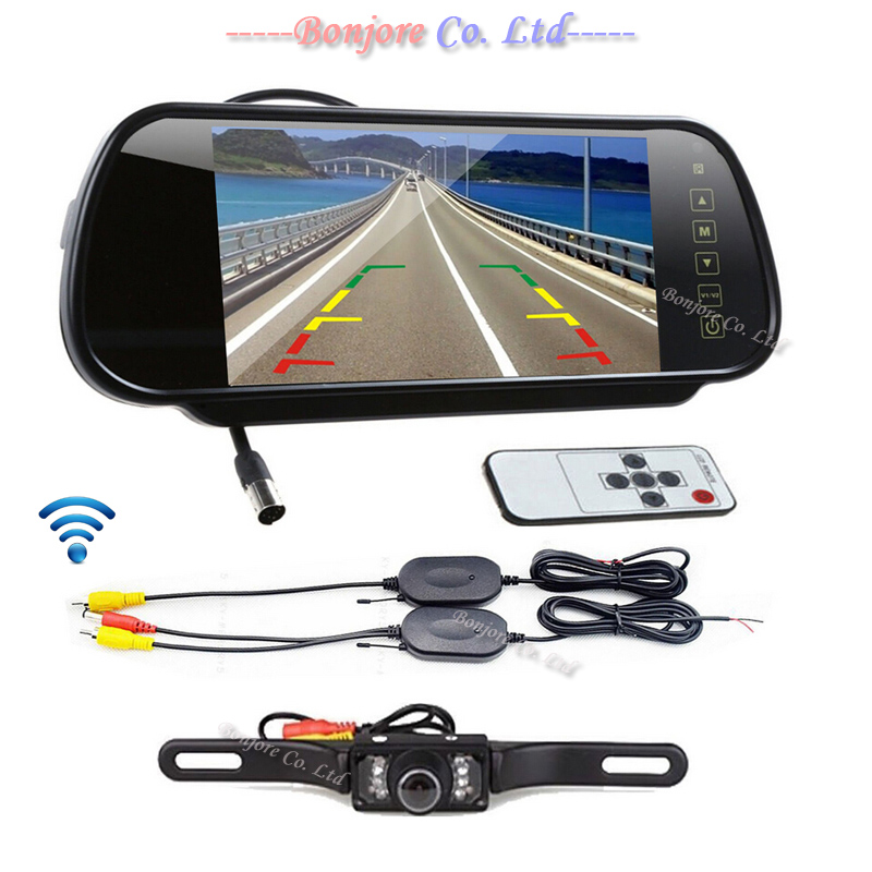 2.4G Wireless 7 LCD Car Rear View Mirror Monitor with 7 Infrared Lights Night Vision Backup Reverse Parking Camera Safe Assist