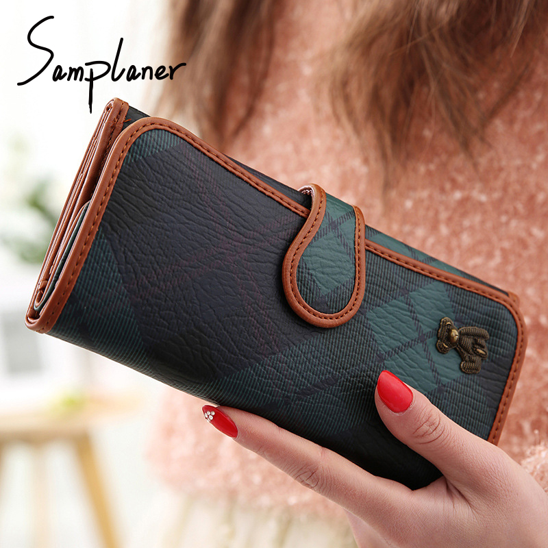 Samplaner Bear Long Wallets Women Metal Large Capacity Ladies Purse Clutch Wallet Leather Female Card Holder Coin Purses 3 Fold fuzzy metal clutch wallet