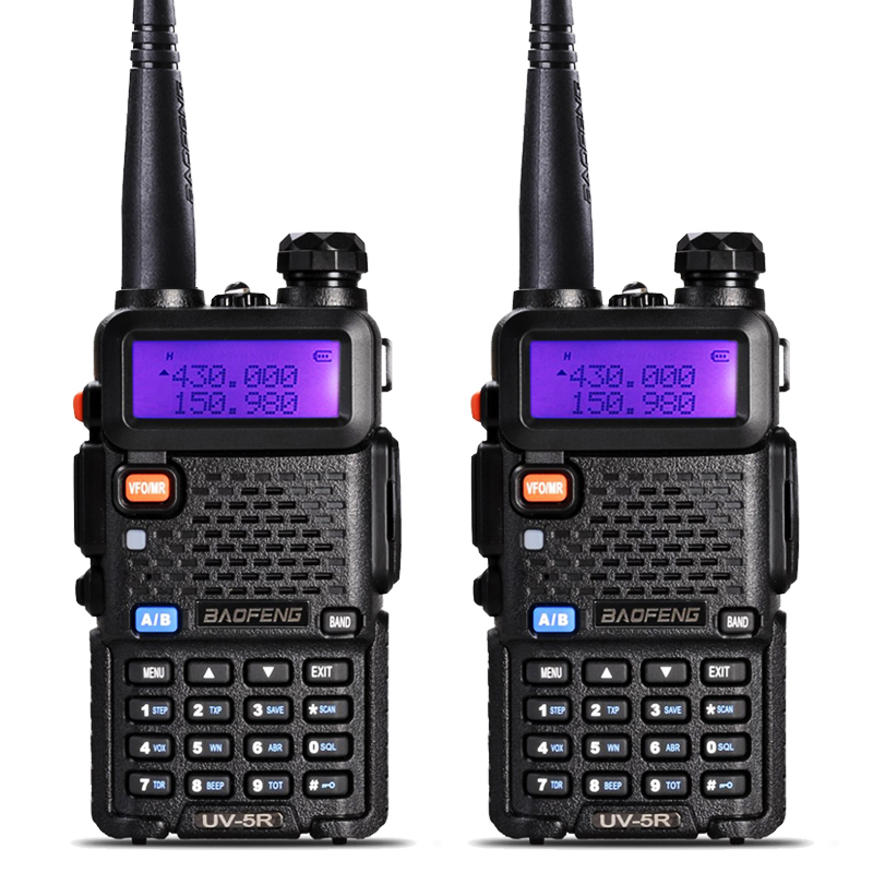 2Pcs BaoFeng UV 5R Walkie Talkie VHF UHF 136 174Mhz 400 520Mhz Dual Band Two Way