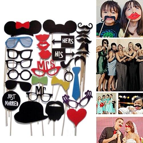 2015 New Funny 31Pcs Fun DIY Masks Booth Props Mustache Stick Set Wedding Birthday Party Photo 51DA
