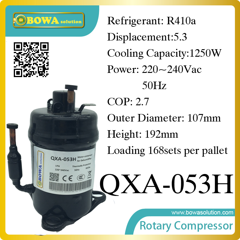 R410a compressor (1250W cooling capacity) suitable for dehumidifiermachine or air dryer machine 520w cooling capacity fridge compressor r134a suitable for supermaket cooling equipment