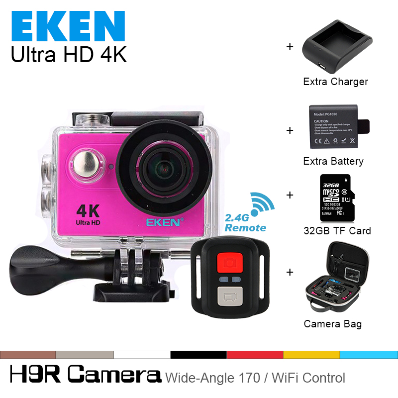 2017 Original Eken 4K Ultra HD WiFi sport action camera Slim Gopro Hero 4 Video Cam Go Underwater waterproof H9r pro style 100% original eken h9r 4k ultra hd wifi action camera remote control go waterproof camera 2 0 1080p 60fps pro sportcam mini cam