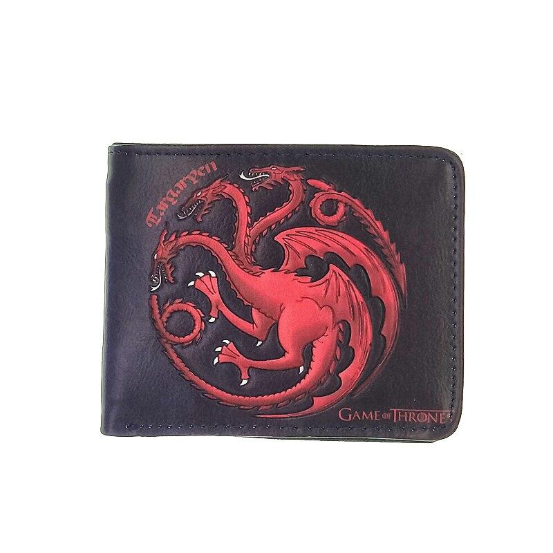 Красный дракон человек бумажник игра трон PU кошелек огонь в крови логотип кошельки игровой портал короткие деньги carteiras portfel