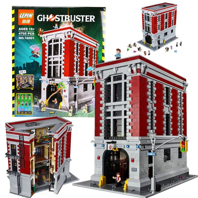 4695Pcs 2016 New LEPIN 16001 Ghostbusters Firehouse Headquarters Model Building Kits Model set Compatible With 75827 4695pcs lepin 16001 city series firehouse headquarters house model building blocks compatible 75827 architecture toy to children
