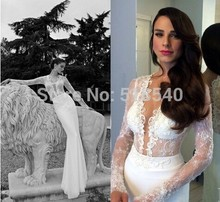 vestido de noiva free shipping robe soiree 2016 new fashion hot sexy romantic long mermaid lace wedding dress bride gown