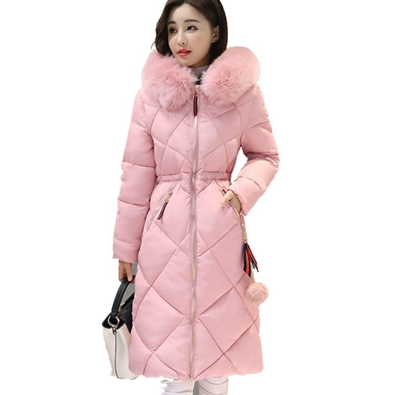 2017 Longue Parkas Femmes Manteau D'hiver Grand Col De Fourrure Veste Femme Chaud Outwear Mince Rembourré Coton Veste Manteau Femmes Vêtements