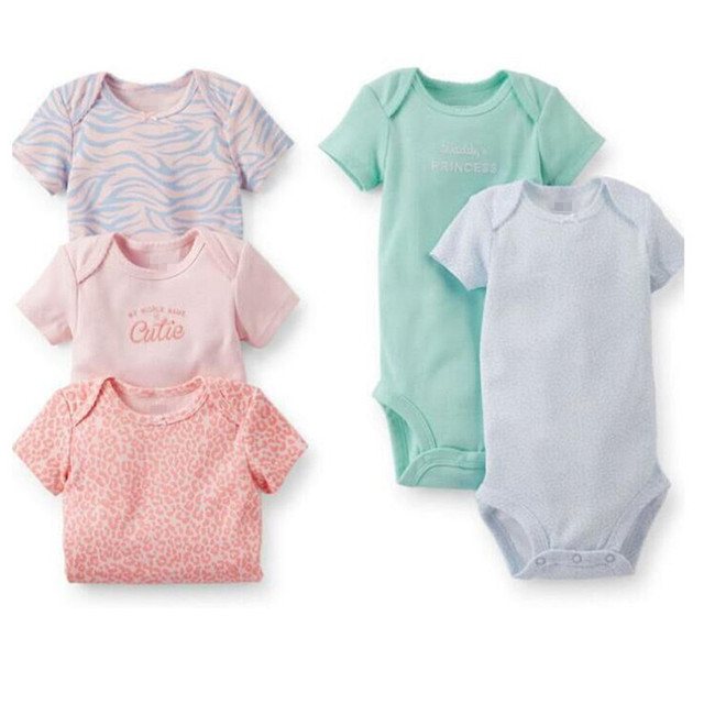 Baby Bodysuits 5 Pieces/Lot Short Sleeved Cotton Infant Summer Jumpsuit Leopard Dot Print Striped Baby Girls Boys Bodysuits V49