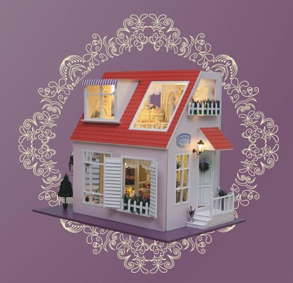Bricolage maison de poupée modèle Kits de construction 3D Miniature à la main en bois maison de poupée lumière Birstday Greative cadeau jouet