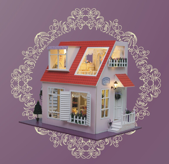 Diy Doll House Model Building Kits 3D Miniature Handmade Wooden Dollhouse Light Birstday Greative Gift Toy d030 diy mini villa model large wooden doll house miniature furniture 3d wooden puzzle building model