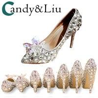 Свадебные туфли с кристаллами на тонком каблуке, серебристые женские туфли-лодочки с острым носком, с музыкальным концертом, для банкета, ин...