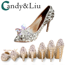Wedding Shoes Crystal Thin Heels Silver Pointed Toe Music Concert Banquet Personalized Gift Princess Large Size 13 Lady Pumps