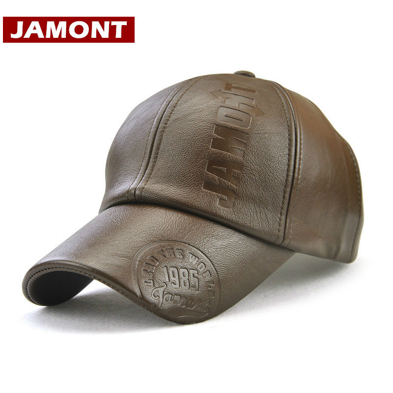 [JAMONT] Winter Men   Caps   Snapback Warm   Baseball     Cap   PU Leather Embossed Letter Outdoor Winter Men Hats