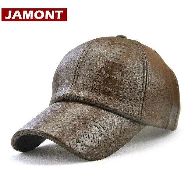 JAMONT  gorros de invierno para hombre gorra de béisbol de cuero PU con  letras cc007a569ce