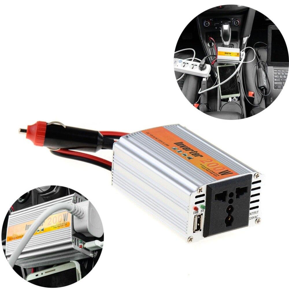цена на 200W Outlets Power Inverter DC 12V to AC 220V Car Adapter Laptop Smartphone VEJ99 T31