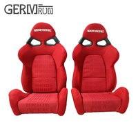 2 Pcs/Set High quality Sport Racing Car Seat Red Black FABRIC MATERIAL Auto Sports Racing Seats