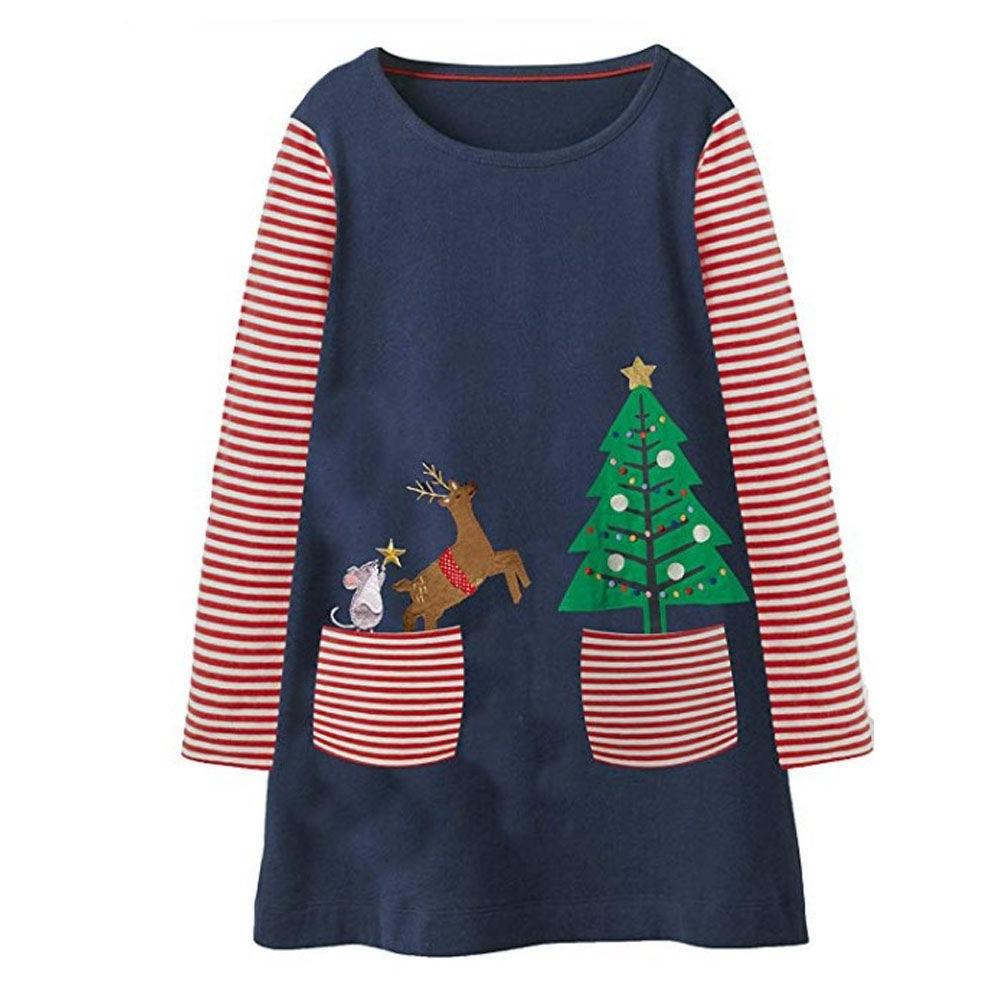 Bebé niñas Vestido, vestidos de fiesta para Niñas Ropa apliques Animal de manga larga Vestido de la princesa de los niños Vestido