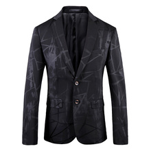 2019 New Arrival Printed Korean Men Blazer Formal Party Wear Black Shawl Lapel Casual Business