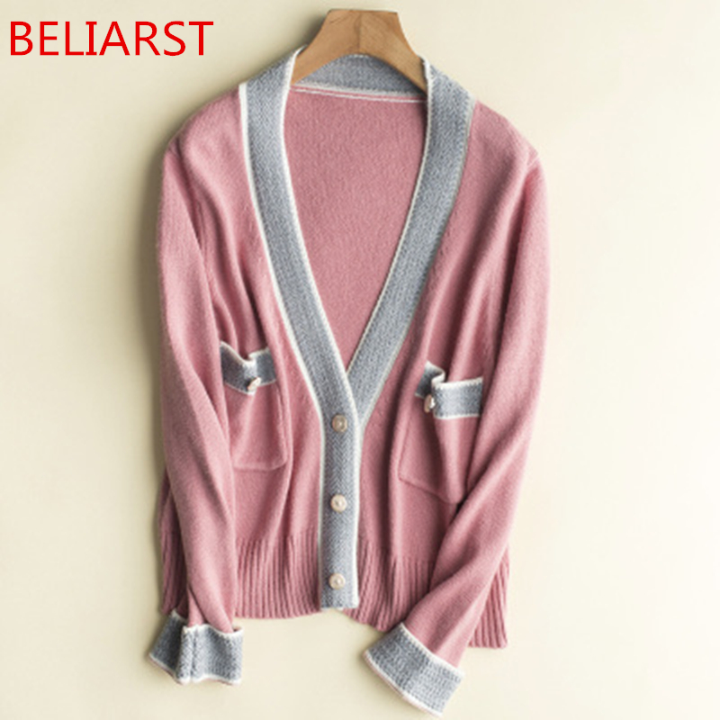 Beliarst Autunno Puro Di Rosa Maglione Breve Scuro Lotta Cappotto Paragrafo colore blu E Nuovo Cashmere 2018 grey Cardigan V cachi Del collo Light Donna Modo Navy Colore Primavera Gray rshtdQ
