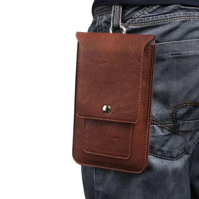 Bolsillos dobles Funda de cuero Cinturón Gancho Loop Funda de - Accesorios y repuestos para celulares
