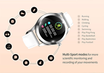 IP68 Waterproof Smart Watch Women Lovely Bracelet Heart Rate Monitor Sleep Monitoring Smartwatch Connect IOS Android KW10 band 5