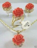 Cena hurtowa 16new ^ ^ ^ ^ Nowy tybet Rose coral flower Wisiorek Kolczyki Ring set + bezpłatnym Łańcucha