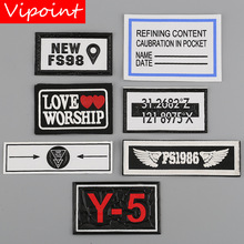 VIPOINT embroidery printed warning patches letter alphabet badges applique for clothing YM-7