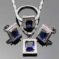 Lan Square  Shaped 2016 Prevalent Sliver Plated Jewelry Sets  For Necklace Pendant /Earring /Ring For wedding Free Shipping