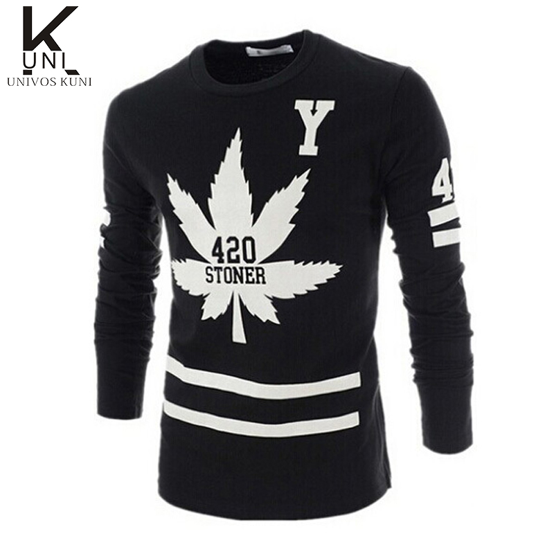 2015 new long sleeve men t shirts brand hip pop t shirt Mens long sleeve white t shirt