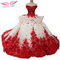 AnXin SH Princess White Lace Red Flower Wedding Dress Ruffles Flower Wedding Dress Red Lace Flower