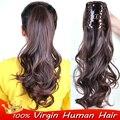 100% H умань волос шнурок Коготь Клип ponytail расширения реми волосы на Теле волны бразильский V е в волос 8-30 дюймов настоящие волосы хвост