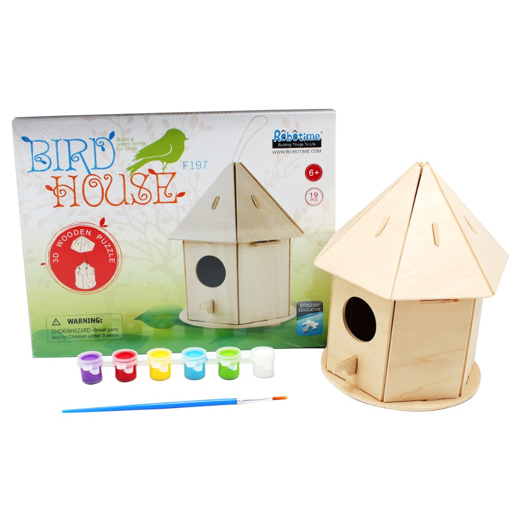 Europe Buyer Super Deal Robotime Wooden Diy Birdhouse Puzzle With Paint Creative Toy For Children F197